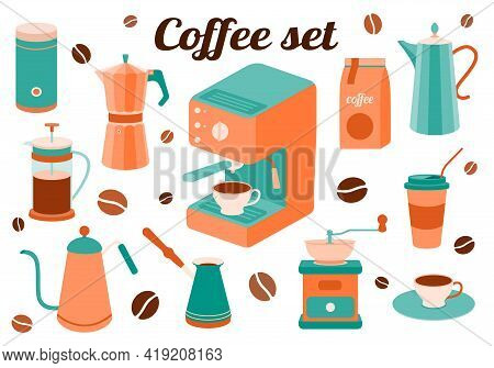 Coffee Set Of Kitchen Accessories For Making A Drink. Coffee Maker, French Press, Pot, Coffee Maker,