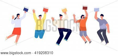 Happy Students With Books. Jump Student, Book Flat College Teenagers. Smiling School Boy Girl. Isola