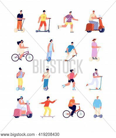 Cartoon People Ride. Man On Bicycle, Urban Lifestyle Activity. Isolated Person Riding Bike, Sport Tr