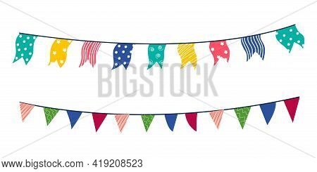 Festa Junina Illustration With Party Flags Isolated On White Background. Promotional Stamp Brazil Ju