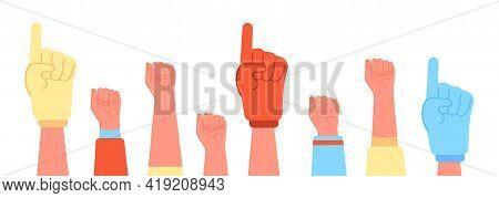 Fans Foam Fingers. Diversity Sports Hand, Soccer Fan Thumb Up. Sport Crowd Hands, Cartoon Football F