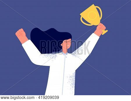 Woman With Trophy. Female Success, Business Successful Winner. Championship Prize, Corporate Office