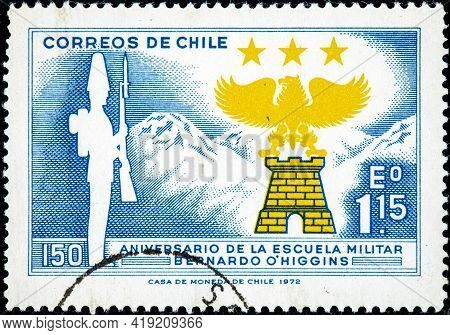 Chile - Circa 1972: Stamp Printed By Chile, Shows 150th Anniversary Of The Military School Ambrosio