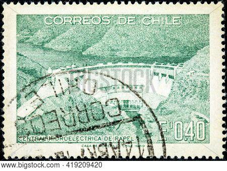 Chile - Circa 1969: A Stamp Printed In Chile Shows Rapel Hydroelectric Plant, Circa 1969
