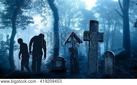 Horizontal banner with two zombies in scary landscape of foggy forest. Halloween scene with walking dead's, medieval stone crosses, tombstone in cemetery in misty forest. Zombie apocalypse. 3d render