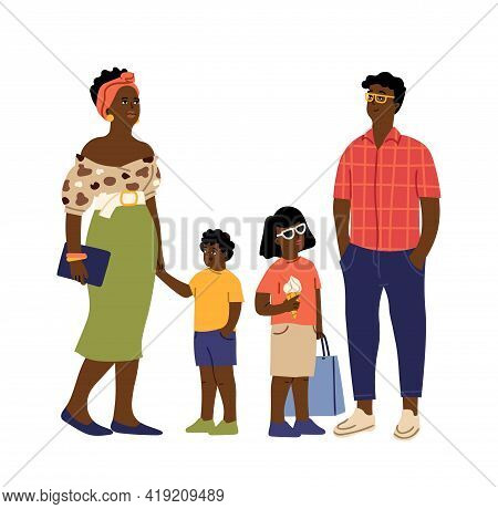 Afro American Family. Cute Kids, Parents Casual Wearing. Parenthood, International Children And Adul