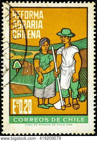 Chile - Circa 1968: A Stamp Printed In The Chile Shows Farm Couple, Agrarian Reforms, Circa 1968