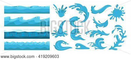 Blue Ocean Waves. Sea Wave, Water Surface Seamless Pattern. Cartoon Splash, Power Of Waters. Nature,