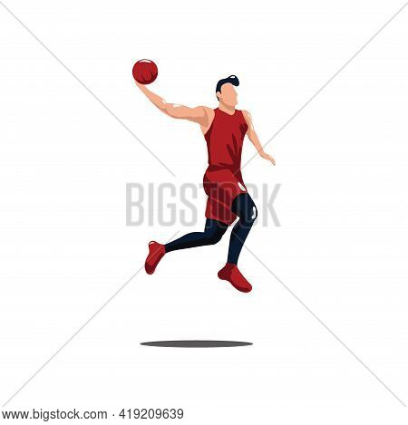 Basket Ball Player Doing A Slam Dunk On Basket Ball Game - Illustrations Of Sport Man Doing Dunk To