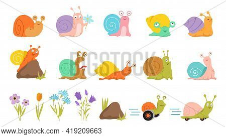 Cartoon Snail And Flowers. Floral Insects, Isolated Stone Grass Cute Snails. Summer Kids Wild Animal