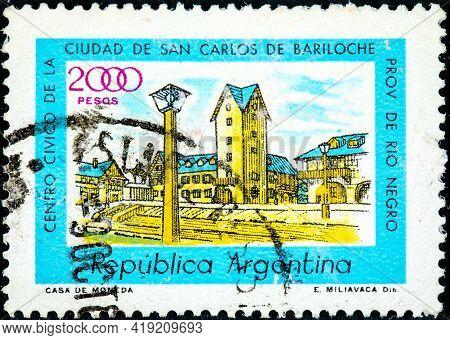 Argentina - Circa 1977: A Stamp Printed In Argentina Shows Civic Centre, Bariloche, Circa 1977