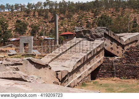 Famous Ancient Obelisks In City Aksum, Ethiopia