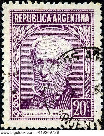 Argentina - Circa 1959: A Stamp Printed Argentina In Shows Portrait Of Admiral Guillermo Brown (1777