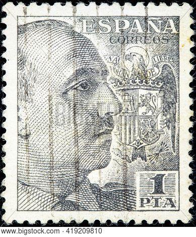 Spain-circa 1939: A Stamp Printed In Spain Shows Francisco Franco Circa 1939