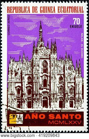 Equatorial Guinea - Circa 1975: A Stamp Printed In Equatorial Guinea, Holy Year Shown Milan, The Duo
