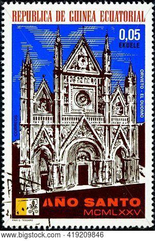 Equatorial Guinea - Circa 1975: A Stamp Printed In Equatorial Guinea, Holy Year Shown Orvieto, The D