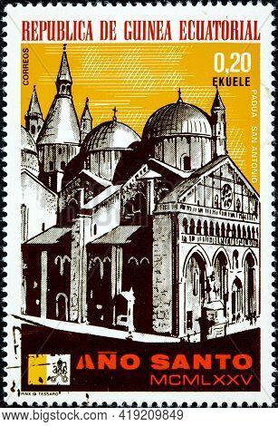 Equatorial Guinea - Circa 1975: A Stamp Printed In Equatorial Guinea, Holy Year Shown Padua, The Duo