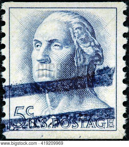 Usa - Circa 1958: A Stamp Printed In Usa Shows Image Portrait George Washington Circa 1958