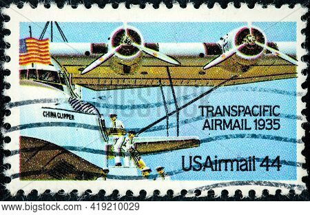 United States - Circa 1985: Stamp Printed In United States (usa), Shows Airplane China Clipper, From