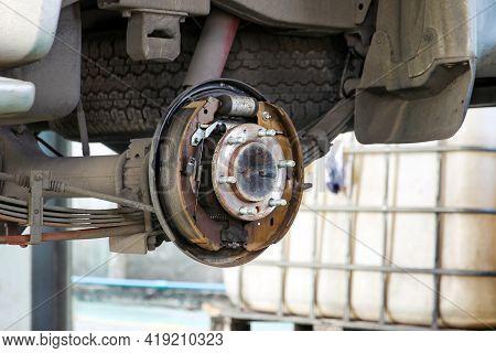 Drum Brake Of Pickup Car Are Repairing Process In Garage