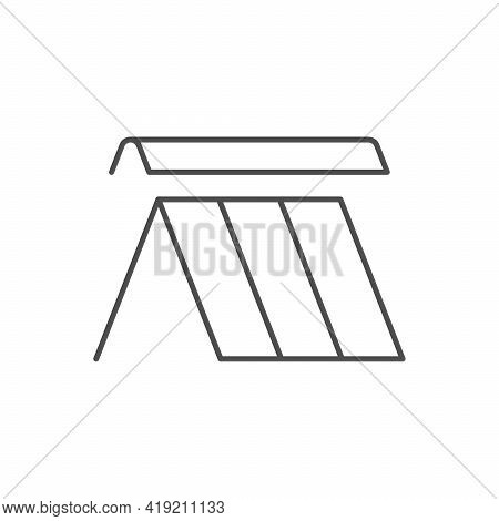 Roof Ridge Line Outline Icon Isolated On White