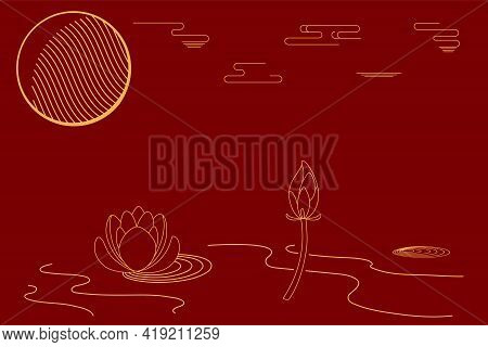 Traditional Asian Background, Lotus Flowers, Clouds, Gold On Red, Copy Space. Oriental, Eastern Styl