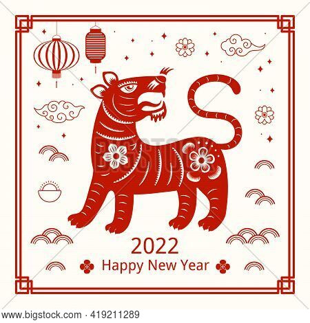 2022 Chinese New Year Paper Cut Tiger Silhouette, Lanterns, Flowers, Text, Red On White Background.