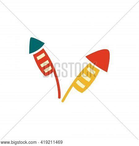 Firecracker Icon. Flat Design Style Modern Vector Illustration. Isolated Over White Background. Flat