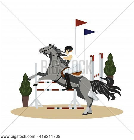 Girl Performs On A Horse In A Competition. Jockey On Horse. Horse Riding. Equestrian Sport. Isolated