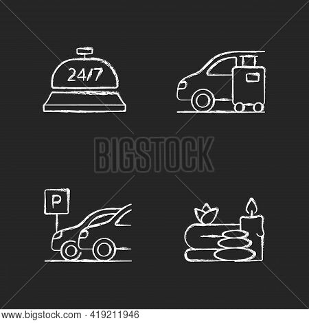 Hotel Services Chalk White Icons Set On Black Background. Light Morning Meal Served In Hotels For Cu