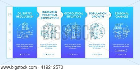Petroleum Price Aspects Onboarding Vector Template. Responsive Mobile Website With Icons. Web Page W