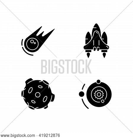Astronautic Black Glyph Icons Set On White Space. Gravitationally System Of Sun And Planets Around I
