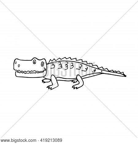 Cartoon Crocodile Hand-drawn On A White Background Isolated. Crocodile In Doodle Style Sideways Draw