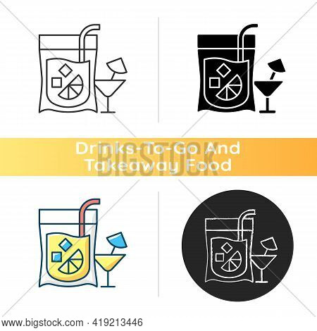 Cocktail To Go Icon. Alcoholic Beverage. Mixed Drink. Restaurant And Bar Delivery. Composition With