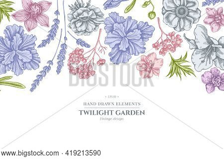 Floral Design With Pastel Anemone, Lavender, Rosemary Everlasting, Phalaenopsis, Lily, Iris Stock Il