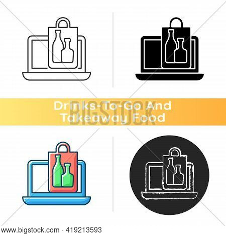 Online Drinks Ordering Icon. Purchasing Alcohol Online. Alcoholic Beverages Home Delivery Service. S