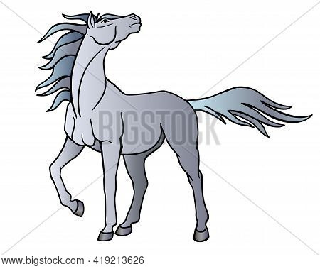 Horse. A Beautiful Gray Stallion Looks Into The Sky, The Wind Flutters Its Long Mane And Tail - Vect