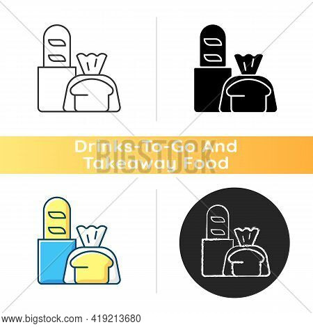 Fresh Bread Takeout Icon. Bakery Products. Pastries. Bread Loaves, Baguettes, Toasts. Baked Goods. M