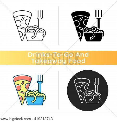 Takeaway Italian Food Icon. Pizza And Pasta. Italian Cuisine Delivery. Spaghetti And Meatballs. Toma