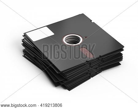 Stack of 5.25 inch floppy disks isolated on white background. Stack of floppy diskette. 3d rendering