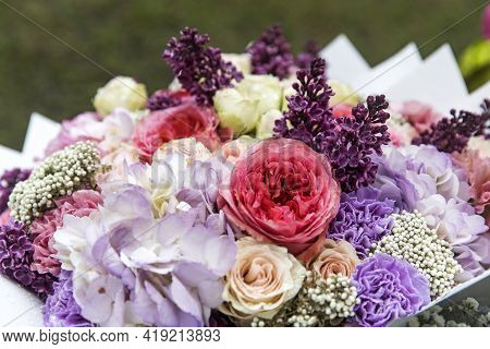 Wedding Bouquet Made Of Tree Pink Peony, Purple Carnations, Blue Hydrangea, Lilac, Wrapped In Craft