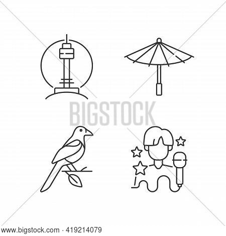 Korean Traditions Linear Icons Set. N Seoul Tower. Traditional Umbrella. Oriental Magpie. K Pop Musi