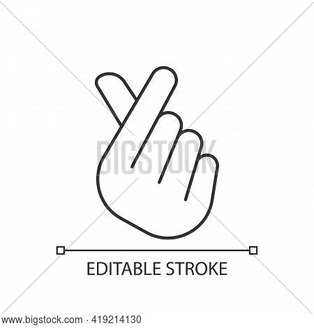 Finger Heart Linear Icon. Gesturing Hand For Flirting And Friendship. Romantic Signature. Thin Line