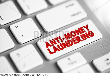 Anti Money Laundering Text Button On Keyboard, Business Concept Background