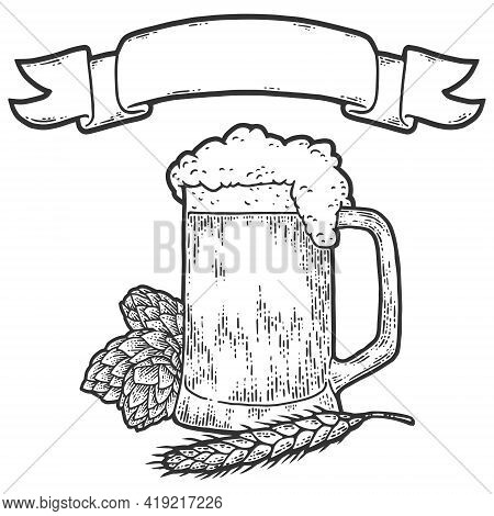 Glass Of Beer With Hops, Wheat And Ribbon. Sketch Scratch Board Imitation.