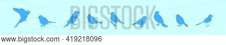 Set Of Bird Cartoon Icon Design Template With Various Models. Modern Vector Illustration Isolated On