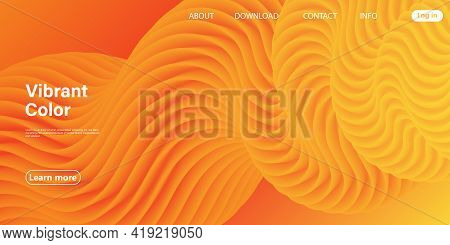 3d Poster. Abstract Flow. Red, Yellow Colors.