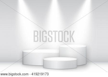 White Round Pedestal Winner Podium With Spotlights