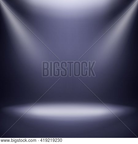 3d Empty Room With Spotlights On Dark Background.