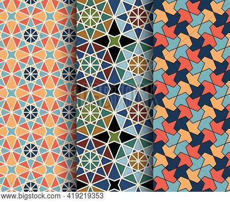 Set Of Arabesque Seamless Islamic Pattern. Morocco Mosaic Abstract Background. Vector Illustration.